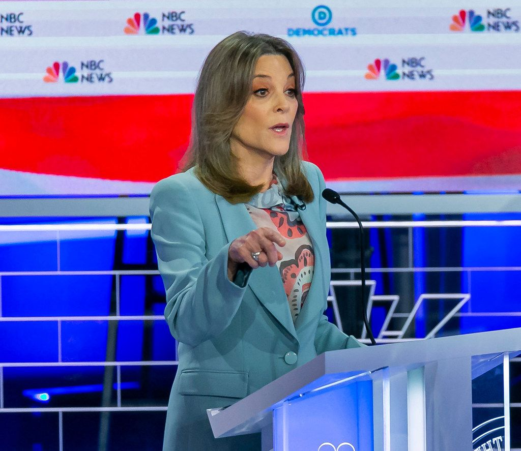 Democratic presidential candidate Marianne Williamson speaks during the second night of the first Democratic presidential debate on June 27, 2019, at the Arsht Center for the Performing Arts in Miami.