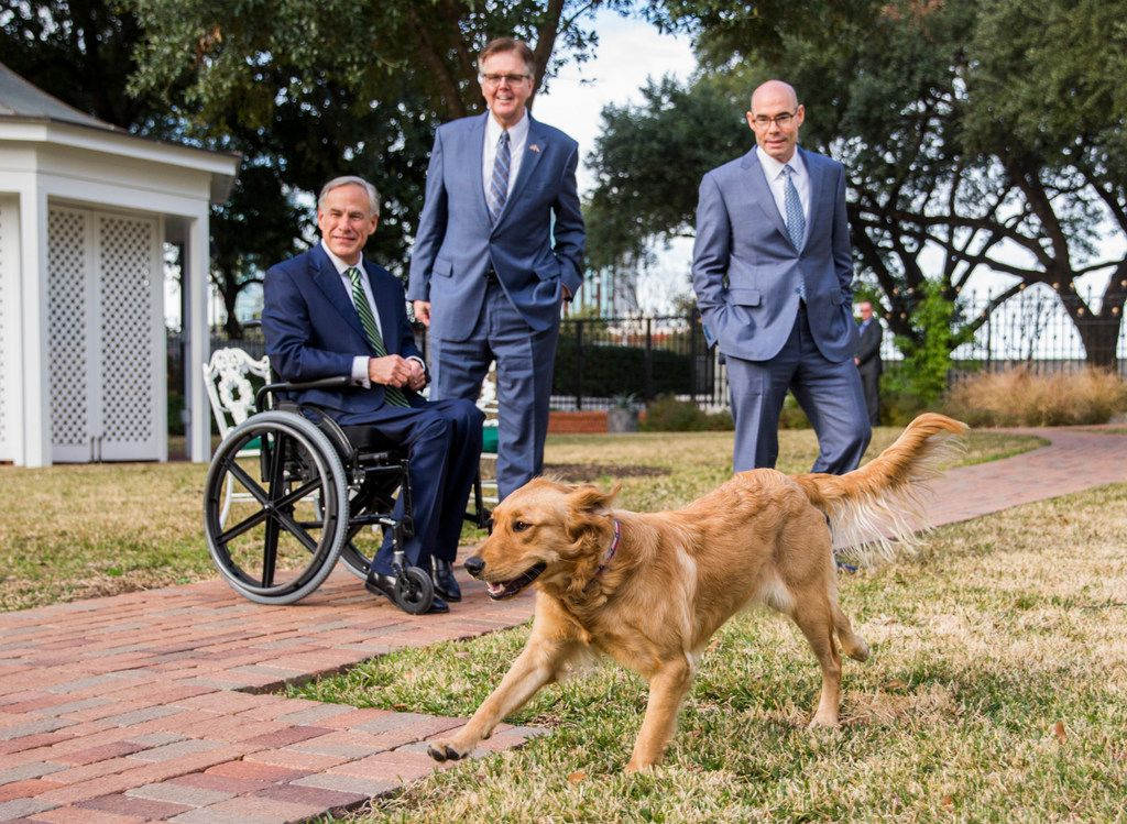 Governor Greg Abbott, Lt. Governor Dan Patrick and Speaker of the House Dennis Bonnen watch as the governor's dogs, Peaches (pictured) and Pancake, play in the yard after a press conference at the Governor's mansion on the second day of the 86th Texas legislature on Wednesday, January 9, 2019 in Austin, Texas.