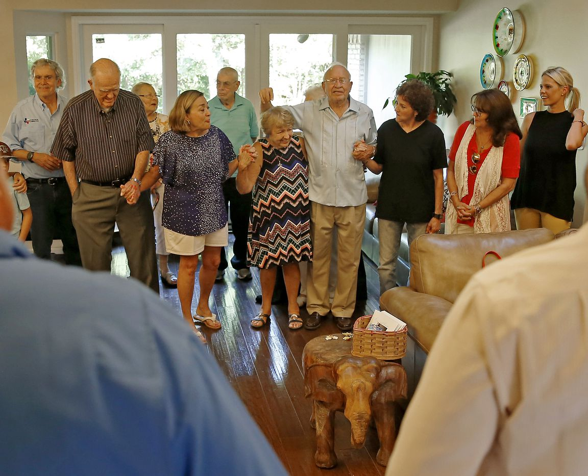 Family and friends of Frank and Carole Barbosa gathered for a prayer as they celebrated the couple's 65th wedding anniversary in July.