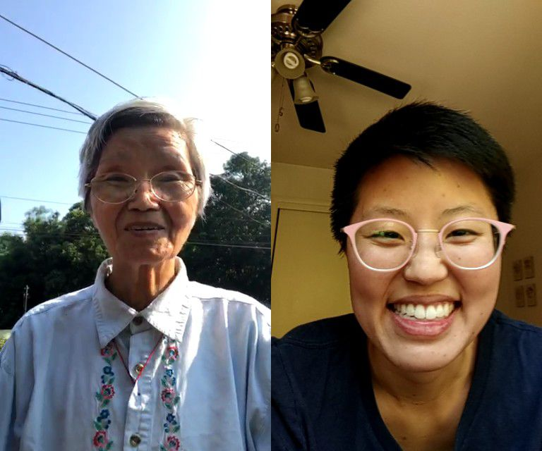 The author (right) video chats with her grandmother (left).