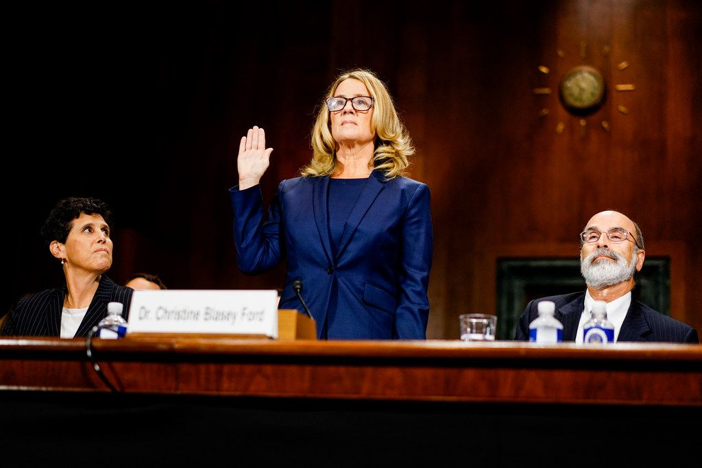 Christine Blasey Ford is sworn in to testify before the Senate Judiciary Committee on Capitol Hill in Washington, Sept. 27, 2018.  It was C-Span — the no-frills cable network dedicated to no-spin coverage of politics and government — that became an unlikely town square during the hearing.