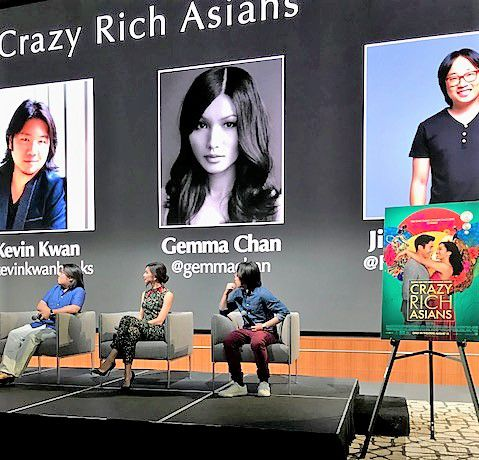 From left, Kevin Kwan, author of Crazy Rich Asians, and actors in the film Gemma Chan and Jimmy O. Wang talked about their careers Wednesday, Aug. 1, in Alliance's open house at Toyota headquarters in Plano.