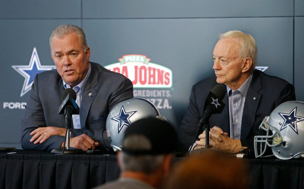 Dallas Cowboys Executive Vice President, CEO, and Director of Player Personnel Stephen Jones, left, answers questions next to Owner Jerry Jones during a pre-draft news conference at the Star in Frisco, Texas, Tuesday, April 24, 2018. (Jae S. Lee/The Dallas Morning News)