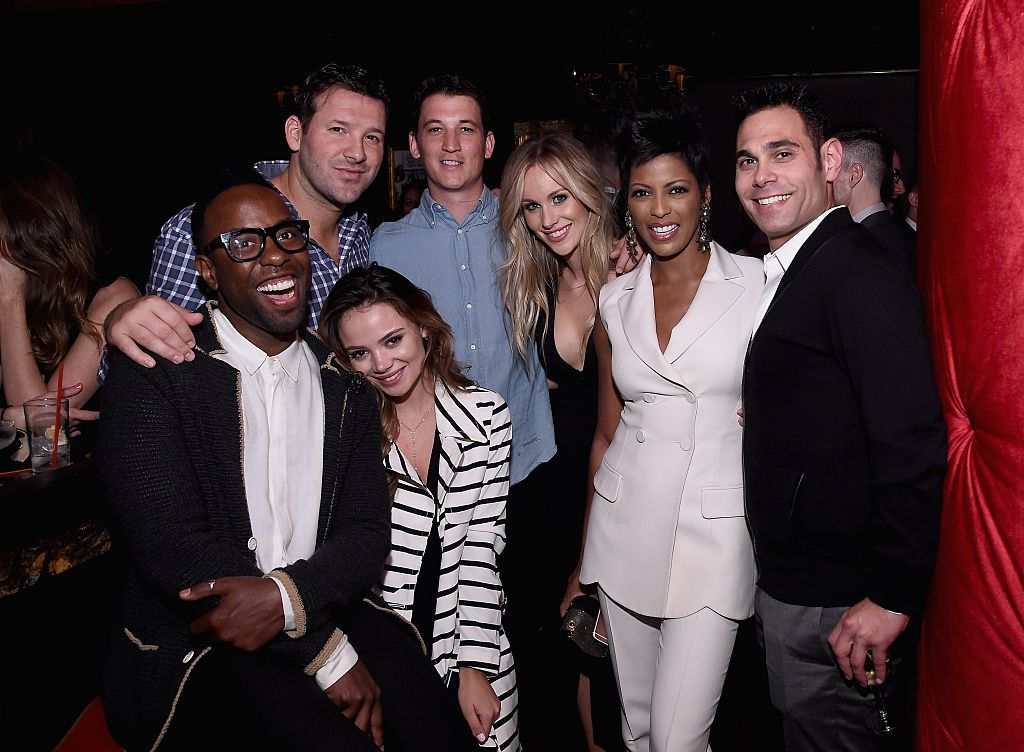 WASHINGTON, DC - APRIL 29:  (L-R) Johnny Wright, Tony Romo, Keleigh Sperry, Miles Teller, Candice Crawford-Romo, Tamron Hall and Eric Podwall attend Eric Podwall's exclusive cocktail experience the evening before White House Correspondents' Dinner at Sheppard on April 29, 2016 in Washington, DC. (Photo by Ilya S. Savenok/Getty Images for Eric Podwall)