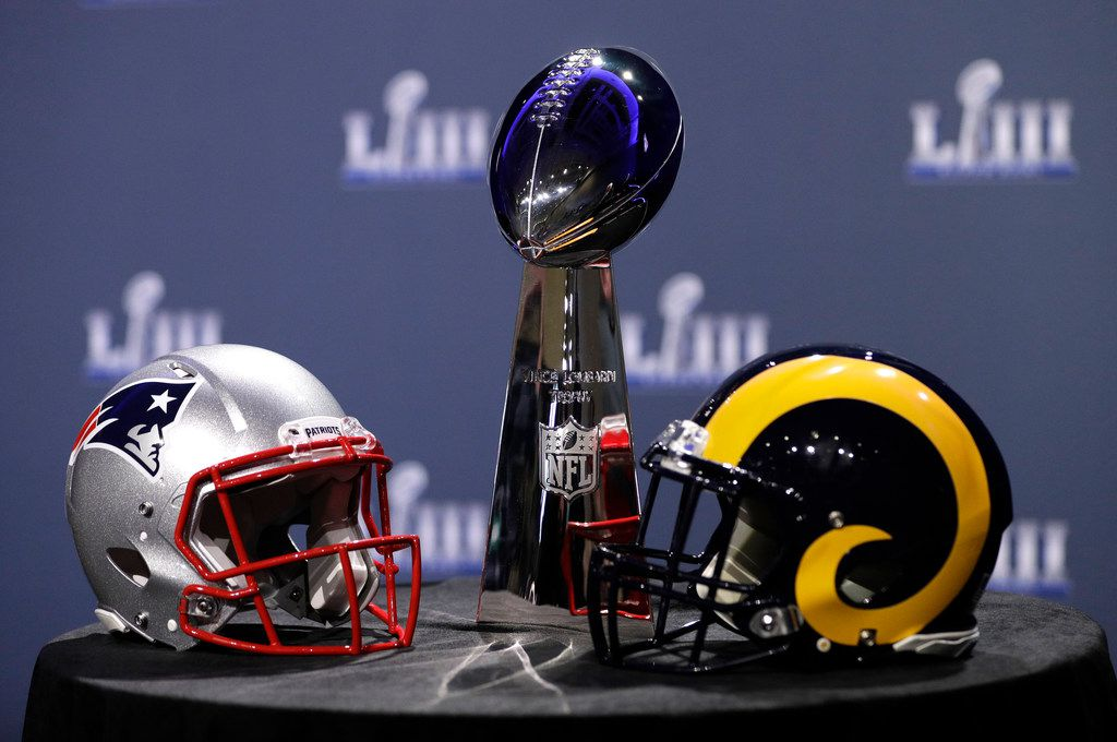 The Vince Lombardi Trophy is displayed before a news conference for the NFL Super Bowl 53 football game Wednesday, Jan. 30, 2019, in Atlanta. (AP Photo/David J. Phillip)