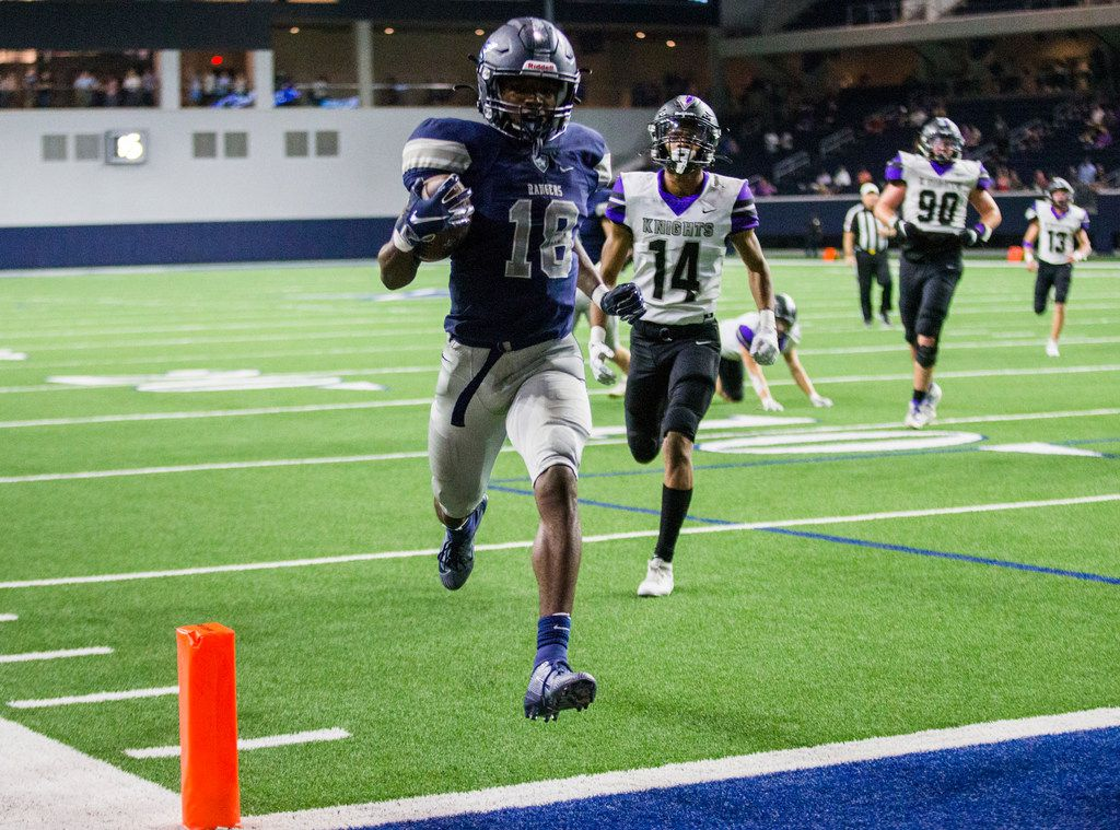 Frisco Lone Star wide receiver Marvin Mims (18) runs to the end zone for a touchdown during the fourth quarter of a District 5-5A Division I high school football game between Frisco Independence and Frisco Lone Star on Thursday, October 10, 2019 at the Ford Center at The Star in Frisco. (Ashley Landis/The Dallas Morning News)