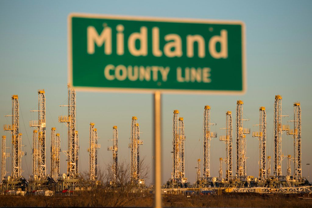 FILE photo shows oil rigs stacked for storage near Midland, Texas in the heart of Permian Basin. (Michael Stravato/The New York Times)