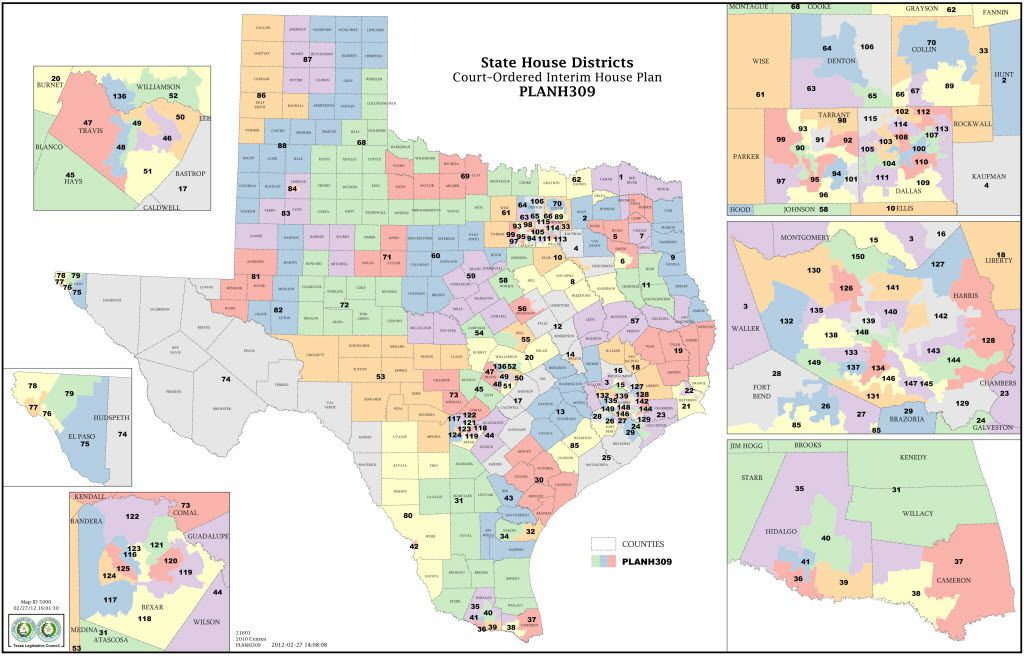This undated illustration provided by the Texas Legislative Council shows PLANH309, the court-ordered interim House redistricting plan for Texas. A federal court in San Antonio issued new Texas congressional and state House maps on Tuesday, Feb. 28, 2012, just in time for the state to finally hold its twice-delayed primary on May 29. The ruling by a three-judge panel could clear the way for elections, if none of the nine groups contesting the state's political districts files an appeal. All sides were studying the complex maps to determine their next move.  (AP Photo/Texas Legislative Council) 03072012xNEWS