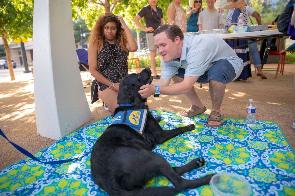 Michael Poston (CQ) (right) pets Yoshi, a 2 year-old labrador retriever and golden retriever mix that will be the service dog at Daymark Living in Waxahachie, as Brielle Robertson (CQ) (left), looks on at Klyde Warren Park in Dallas, Texas, Saturday, June 16, 2018. Daymark Social Club meets regularly throughout the Dallas/ Fort Worth area.