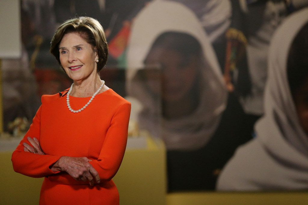 """Former First Lady Laura Bush gives The Dallas Morning News a tour of the new exhibit titled """"First Ladies: Style of Influence"""" at the George W. Bush Presidential Center on the campus of Southern Methodist University in Dallas Wednesday February 28, 2018. According to the Center """"First Ladies: Style of Influence examines how the role of the first lady has evolved over time, and how first ladies have used their position to advance diplomacy and other social, cultural, and political initiatives."""" (Andy Jacobsohn/The Dallas Morning News)"""