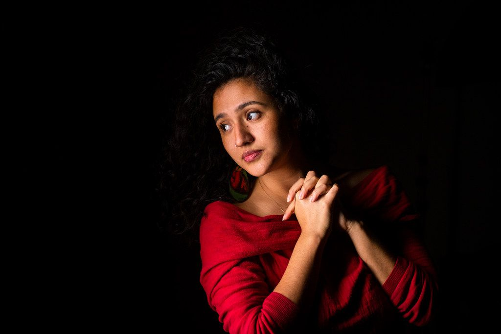 Poet Edyka Chilomé poses in The Dallas Morning News' studio on Friday, Dec. 14, 2018.