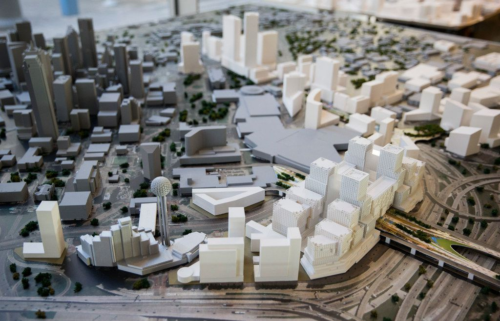 A model of what was offered to Amazon as part of a possible Dallas HQ2 location is displayed during an Urban Land Institute panel discussion on Tuesday, February 12, 2019, at HKS in downtown Dallas.