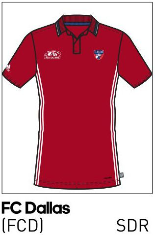 2016 FC Dallas team polo from the adidas catalog