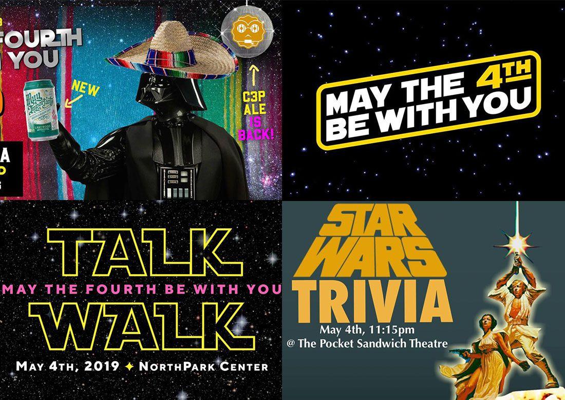 Gráficas promocionales de cuatro eventos de Star Wars que se llevarán a cabo en DFW.