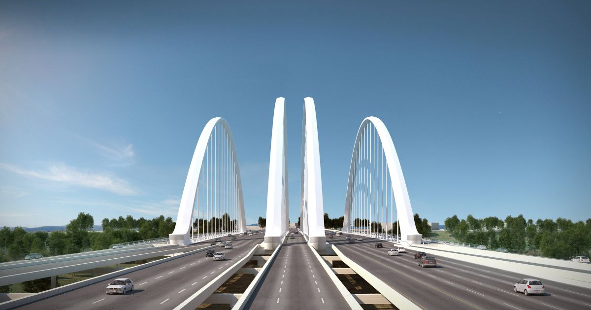 THIS IS AN ARTIST'S RENDERING -- NOT A PHOTO --  Four signature arches were part of the plan for the Margaret McDermott Bridge carrying I-30 over the Trinity River in downtown Dallas, as originally envisioned and designed by architect Santiago Calatrava. (Credit: Santiago Calatrava)