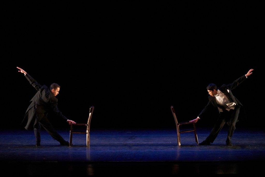 An SMU dance performance of  Scene Unseen,  choreographed by Danny Buraczeski of the Meadows School of the Arts. Scene Unseen (1998) starred alums Albert Drake (left) and Adrian Aguirre.