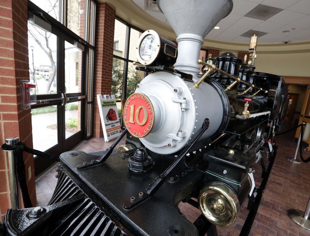 The miniature steam locomotive donated by Phil and Geda Condit to the Museum of the American Railroad is on display at the Frisco Heritage Museum.