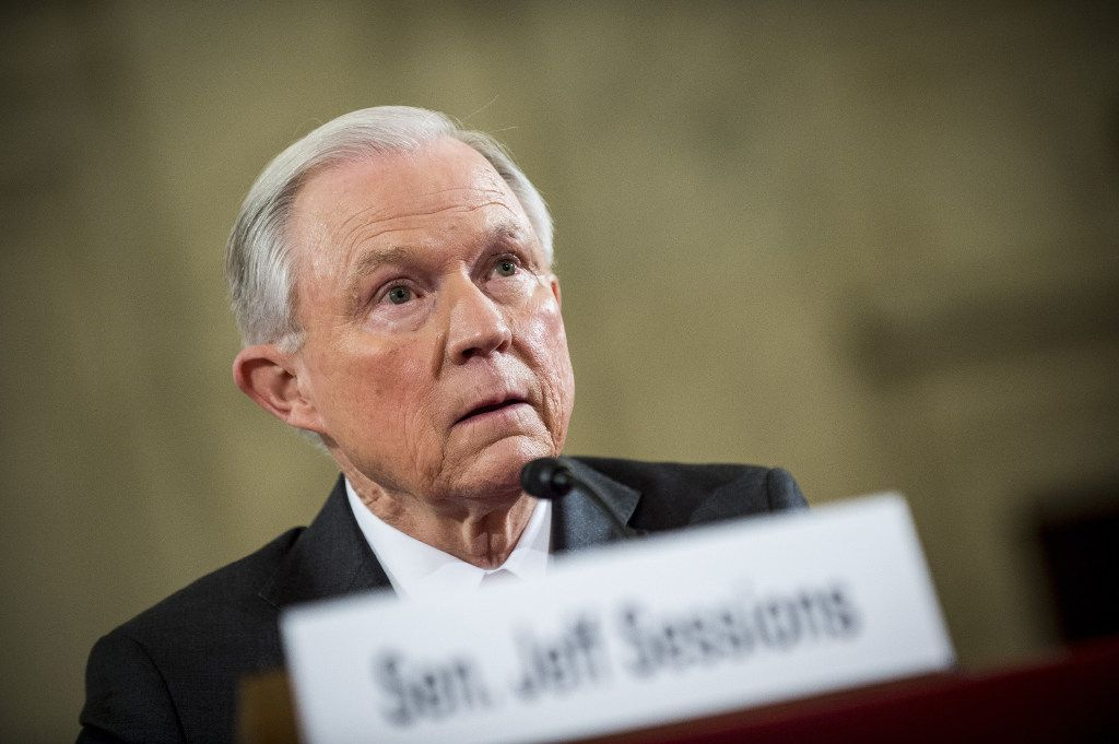 "Senator Jeff Sessions, a Republican from Alabama, speaks before the Senate Judiciary Committee in Washington, D.C., U.S., on Tuesday, Jan. 10, 2017. Sessions will warn at his confirmation hearing Tuesday of a ""dangerous trend"" in violent crime and vow to better defend police while tackling accusations that he'll gut civil rights, as he seeks to become President-elect Donald Trump's attorney general. Photographer: Pete Marovich/Bloomberg"