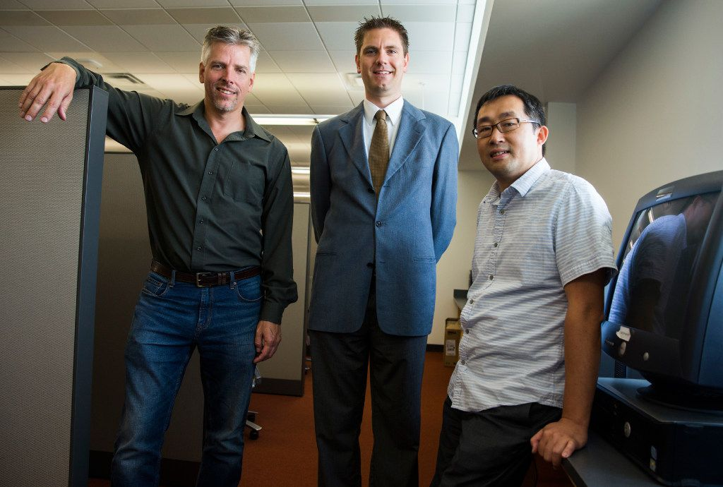 From left: Assistant professor of communication Mark Tremayne at the University of Texas at Arlington, along with associate professor of computer science and engineering Christoph Csallner and associate professor of computer science and engineering Chengkai Li, are working with professors from the University of Texas at Dallas to develop a program to fight fake news.