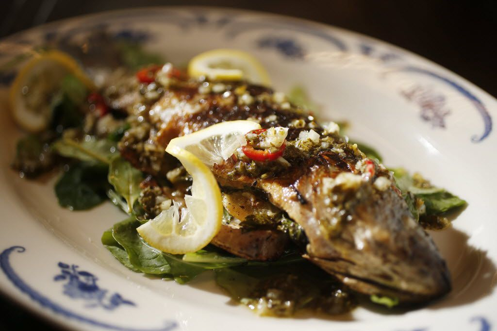 Steamed whole branzino for two at Mudhen
