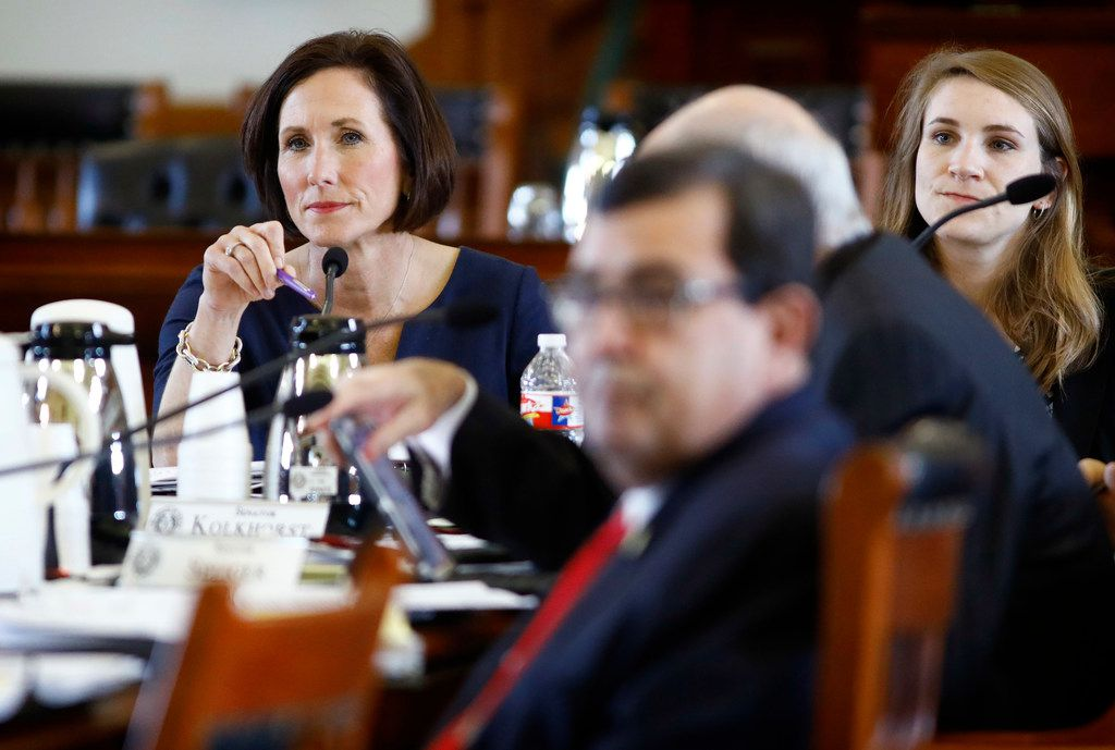 Sen. Lois Kolkhorst, R-Brenham (left) shown during an April 2 hearing of her Health and Human Services Committee, on Tuesday rebutted suggestions that the Senate's budget would cut Medicaid and touted the budget's increased funding of women's health programs.