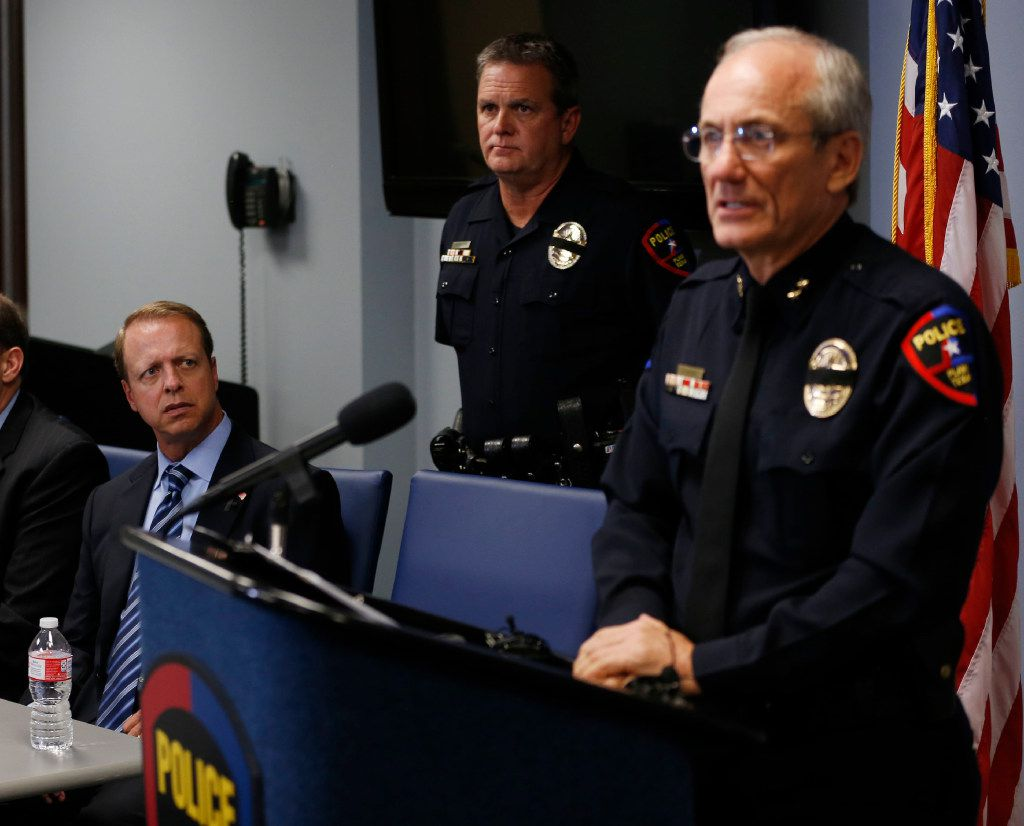 Collin County District Attorney Gregory Willis, left, listens as Plano Police Chief Gregory Rushin speaks to the media during a press conference at the Plano Police Department in Plano on Monday, September 11, 2017. Chief Rushin gave more details about the house where multiple people were found dead on the 1700 block of W. Spring Creek Parkway.