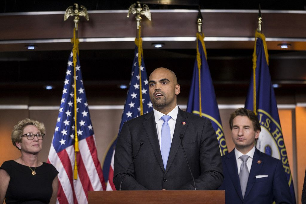 U.S. Rep. Colin Allred of Texas speaks during a news conference discussing the Shutdown to End All Shutdowns (SEAS) Act on Jan. 29, 2019 in Washington, D.C. Also pictured are Rep. Chrissy Houlahan, D-Pa., and Rep. Dean Phillips, D-Minn.