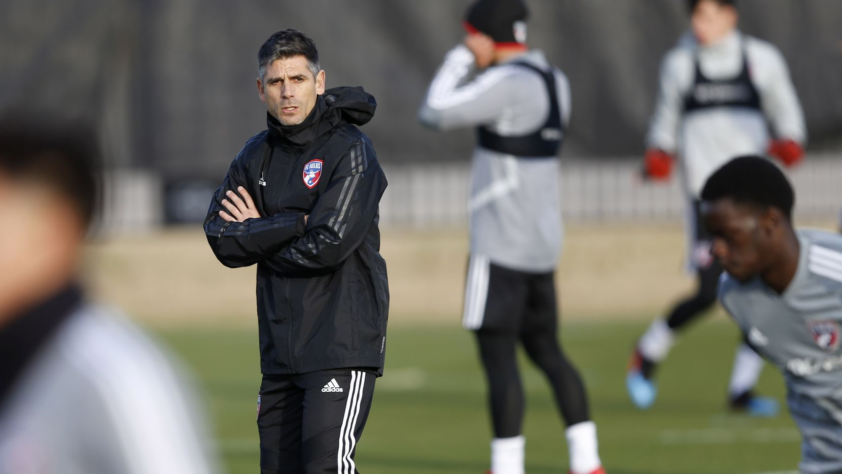 FC Dallas head coach Luchi Gonzalez looks on during the first day of training camp at Toyota Stadium on AdvoCare Field 1 in Frisco, Texas on Monday, January 21, 2019. (Vernon Bryant/The Dallas Morning News)