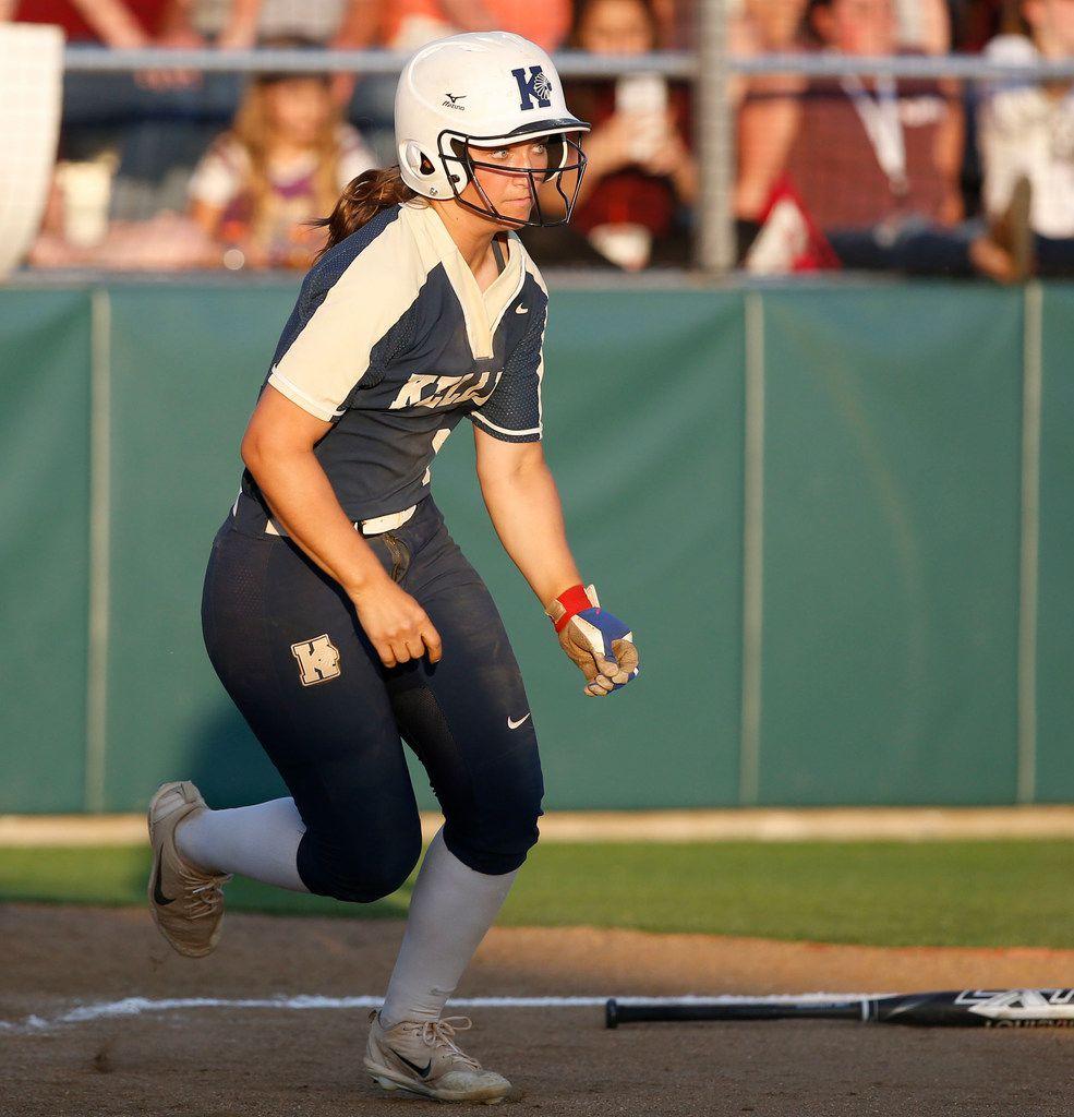 Alexa Langelier (9) runs to first base against Keller at Tina Minke Field in Denton, Texas on May 25, 2018. (Nathan Hunsinger/The Dallas Morning News)