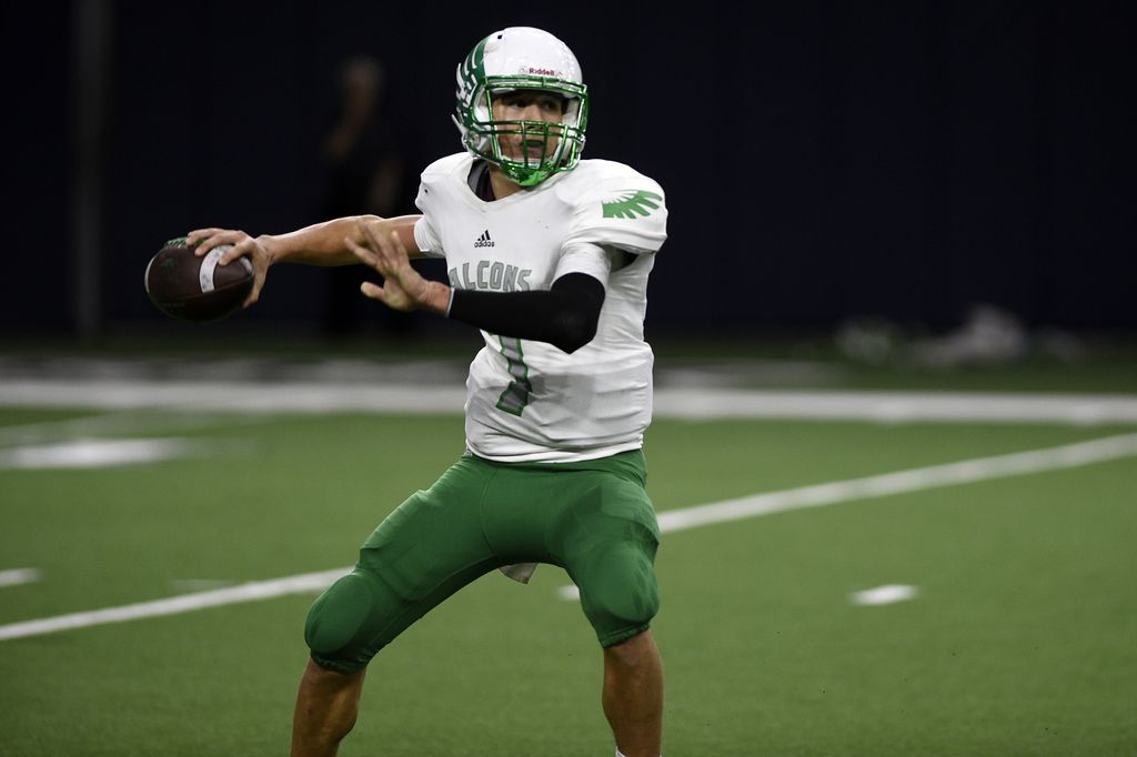 Lake Dallas junior quarterback Ryan Depperschmidt (7) passes the ball to a teammate. Lake Dallas faced off against Frisco Reedy to start the playoffs at the Ford Center at the Star in Frisco, Texas on Friday. Friday, November 17, 2017, Ford Center at the Star in Frisco, Texas. Jake King/DRC ORG XMIT: txder