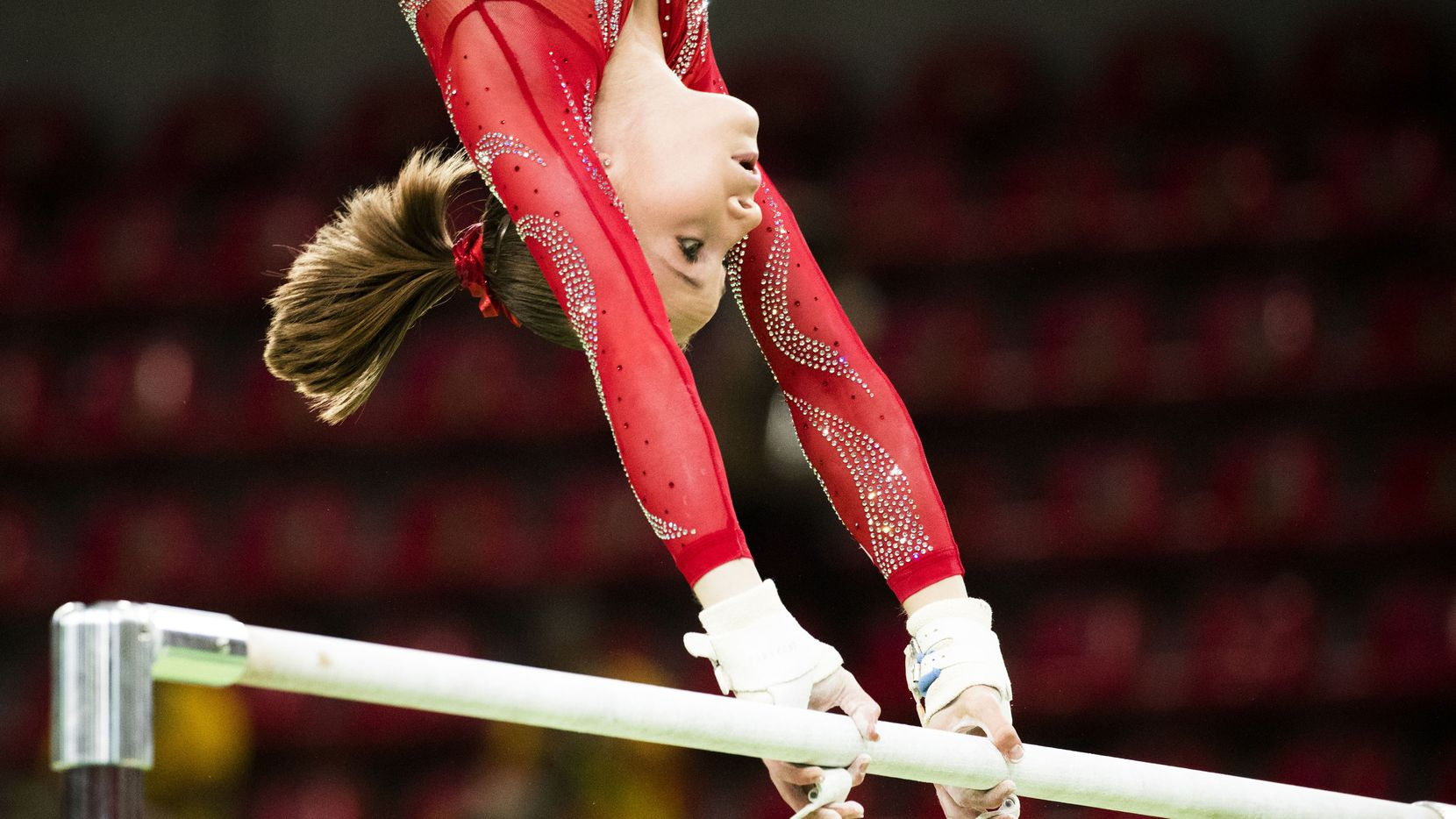 USA gymnast Madison Kocian of Dallas practices on the uneven bars during a training session at the Rio Olympic Arena on the day before the opening ceremonies of the Rio 2016 Olympic Games on Thursday, Aug. 4, 2016, in Rio de Janeiro. (Smiley N. Pool/The Dallas Morning News)
