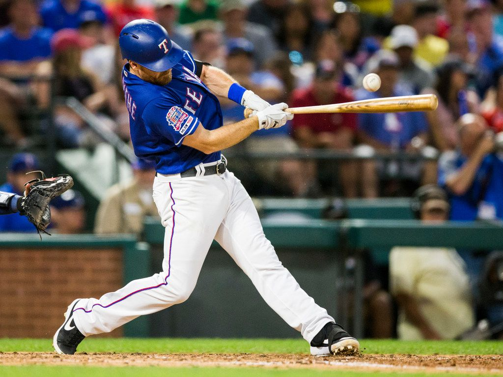 Texas Rangers short stop Logan Forsythe (41) bats during the fifth inning of an MLB game between the Texas Rangers and the Seattle Mariners on Tuesday, May 21, 2019 at Globe Life Park in Arlington. (Ashley Landis/The Dallas Morning News)