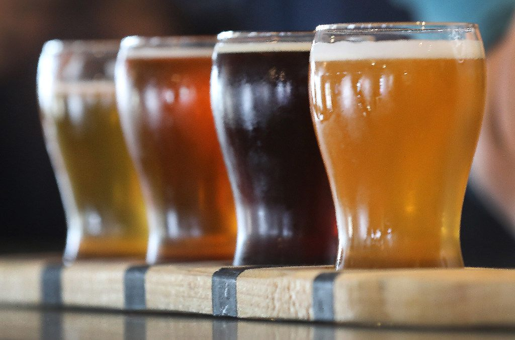 A flight of Peticolas Brewing Company beers stands at the ready for tasting at the Peticolas Brewing Company, 2026 Farrington Street in Dallas, photographed on Saturday, April 8, 2017. (Louis DeLuca/The Dallas Morning News) ORG XMIT: DMN1704081614594591