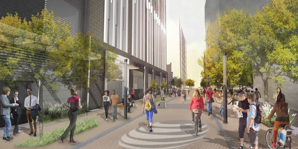 A conceptual rendering of a closed Jackson Street near AT&T's headquarters in downtown Dallas