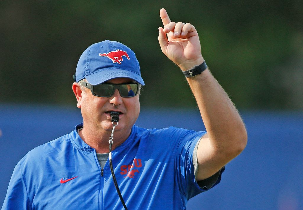 SMU head coach Sonny Dykes is pictured during SMU football practice at the university in Dallas, photographed on Saturday, August 18, 2018. (Louis DeLuca/The Dallas Morning News)