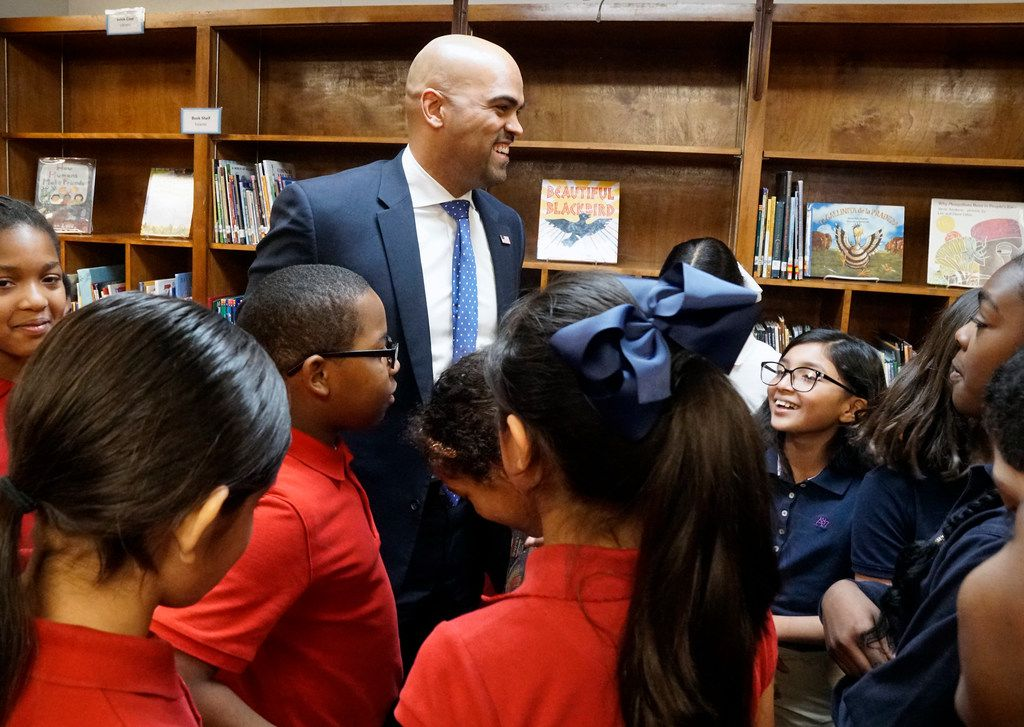 U.S. Rep. Colin Allred spent time with the students at his alma mater, John J. Pershing Elementary School in Dallas, Texas on Thursday January 31, 2019. Allred thanked the students for making Valentine's Day cards thanking veterans for their service to the country.