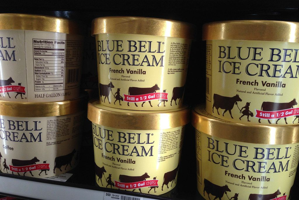 In this April 10, 2015, file photo, Blue Bell ice cream sits on a grocery store shelf in Lawrence, Kan.