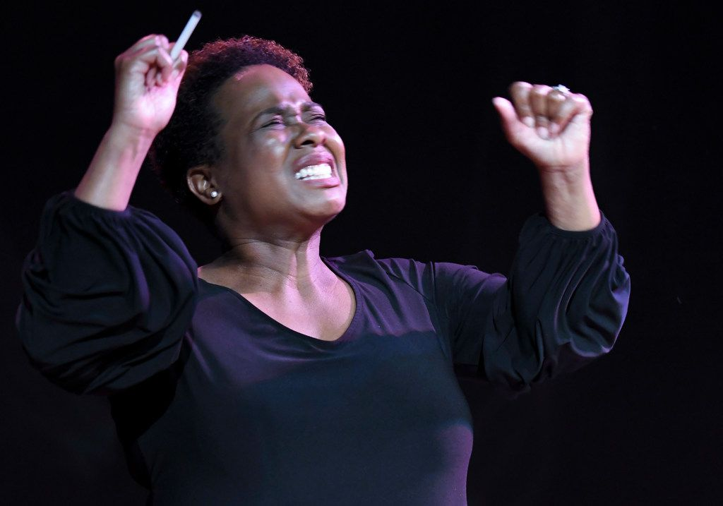 Deontay Roaf plays Nina Simone in The Champion at Bishop Arts Theatre Center.