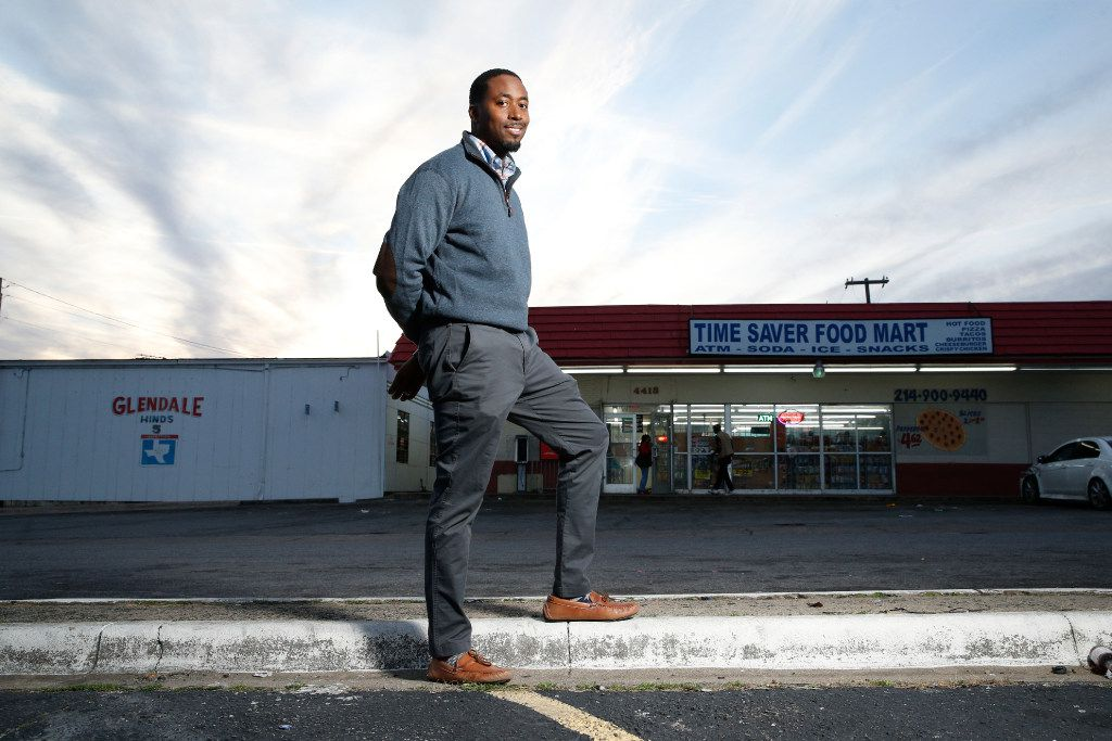 Taylor Toynes, an Oak Cliff community activist,  poses for a portrait on the corner of where his grandfather owned the convenience store as a kid at Glendale Park in Dallas on January 24, 2017.