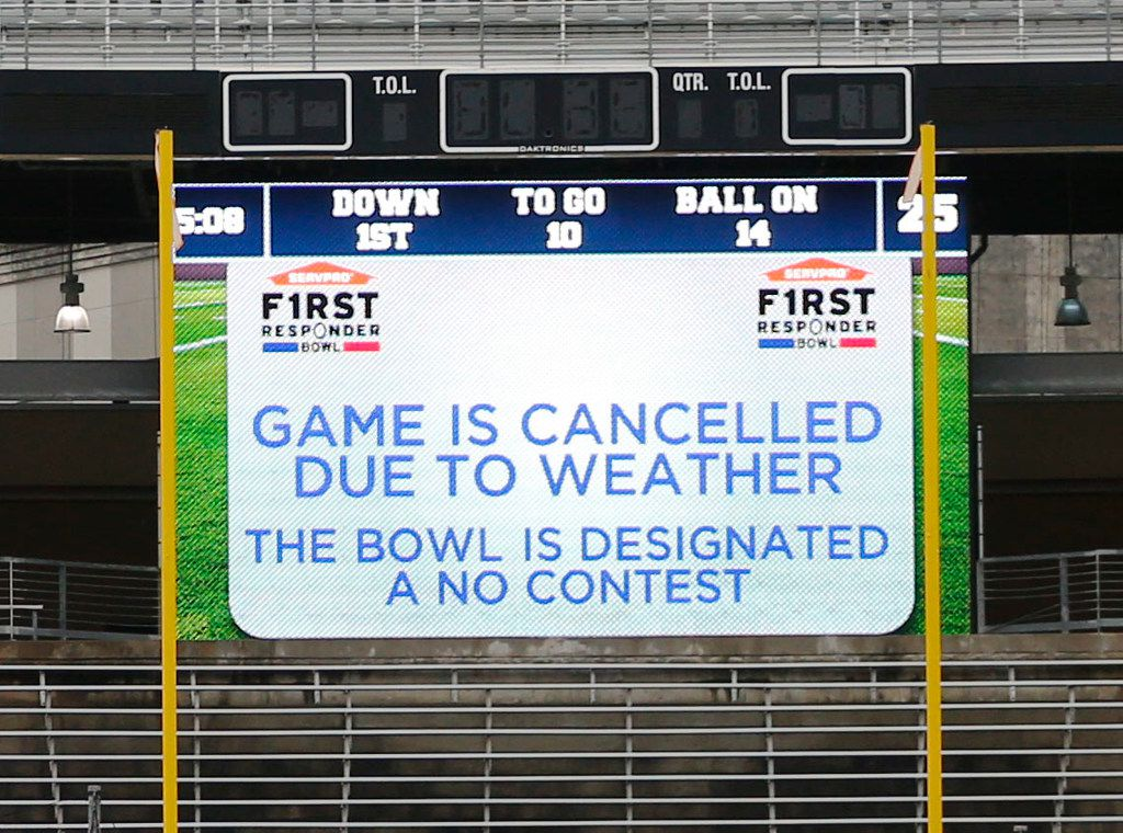 after the game was cancelled due to weather  at the Servpro First Responder Bowl at Cotton Bowl Stadium in Dallas on Wednesday, December 26, 2018.  (Vernon Bryant/The Dallas Morning News)