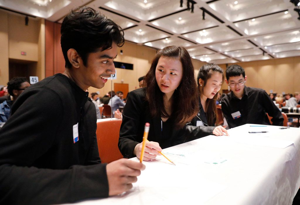 Plano West High School students, Sandipan Nath, 17, from left, Christina Lu, 17, Cindy Hao, 17, and Richard Guo, 18, took part in the PwC Academic WorldQuest competition at University of Texas at Arlington, Thursday, February 15, 2018. They won first place and this was the second year in a row the school won first place. Each year, World Affairs Councils around the United States host Academic WorldQuest competitions for high school students. Students on 91 teams from 36 public, private and charter schools across North Texas took part in their global knowledge of current events and history. (David Woo/The Dallas Morning News)