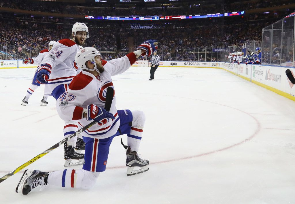 NEW YORK, NY - APRIL 16:  Alexander Radulov #47 of the Montreal Canadiens celebrtaes his goal at 15:35 of the third period against the New York Rangers in Game Three of the Eastern Conference First Round during the 2017 NHL Stanley Cup Playoffs at Madison Square Garden on April 16, 2017 in New York City. The Canadiens defeated the Rangers 3-1.  (Photo by Bruce Bennett/Getty Images)