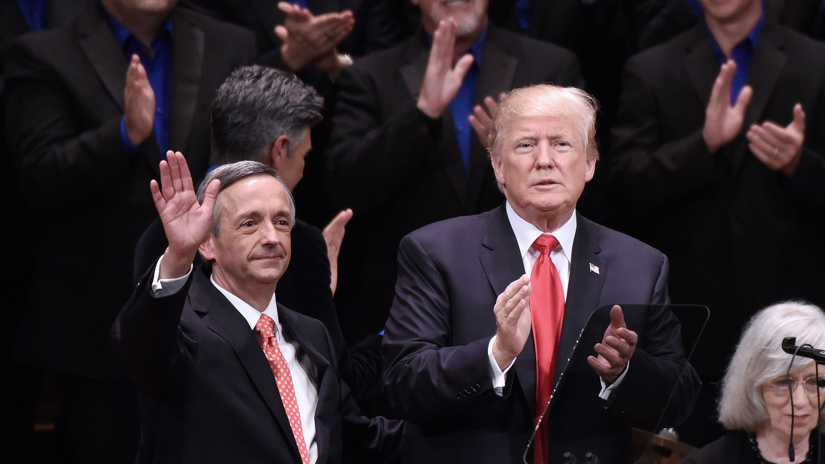 WASHINGTON, DC - JULY 01:  (AFP OUT) US President Donald Trump and Pastor Robert Jeffress participate in the Celebrate Freedom Rally at the John F. Kennedy Center for the Performing Arts on July 1, 2017  in Washington, DC.  (Photo by Olivier Douliery-Pool via Getty Images)