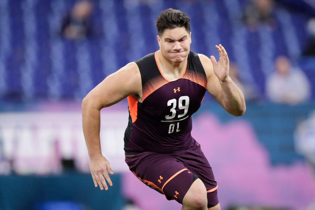 Penn State offensive lineman Connor McGovern runs a drill at the NFL football scouting combine in Indianapolis, Friday, March 1, 2019. (AP Photo/Michael Conroy) ORG XMIT: INMC10