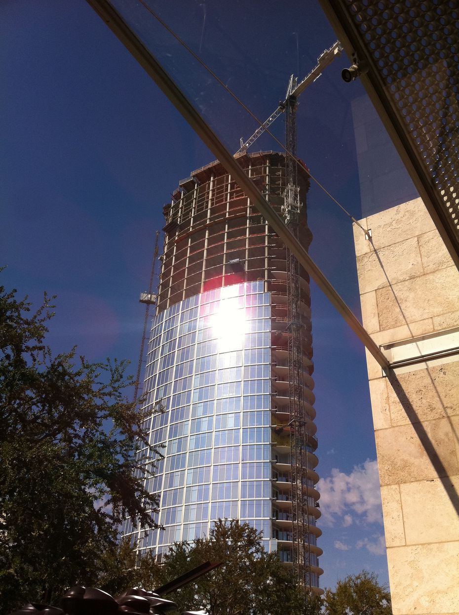 The Glare appeared even before construction on Museum Tower was finished. This photograph was taken on Sept. 26, 2011.