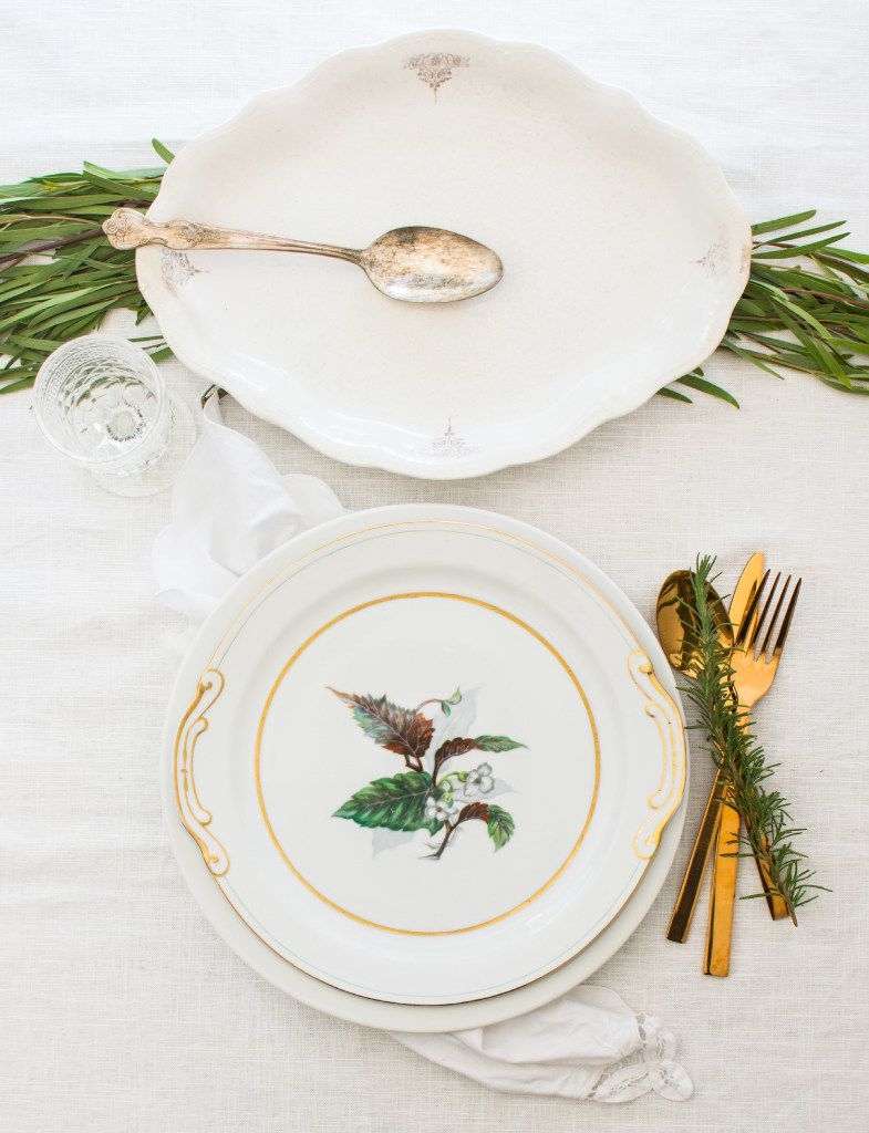 White and green is a classy color combo for a holiday table.