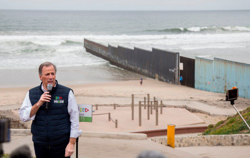 "Mexico's presidential candidate for ""Todos por Mexico"" (All for Mexico) -- a coalition which includes the Institutional Revolutionary Party, or PRI, addresses the media during a visit to Tijuana in Baja California State, Mexico, on May 11"