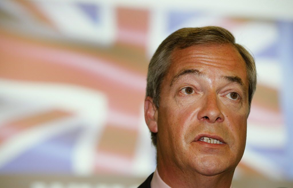 British politician Nigel Farage said he hopes Britain's recent decision to exit the European Union will hold some lessons for a divided America, though he wouldn't say what those lessons might be.