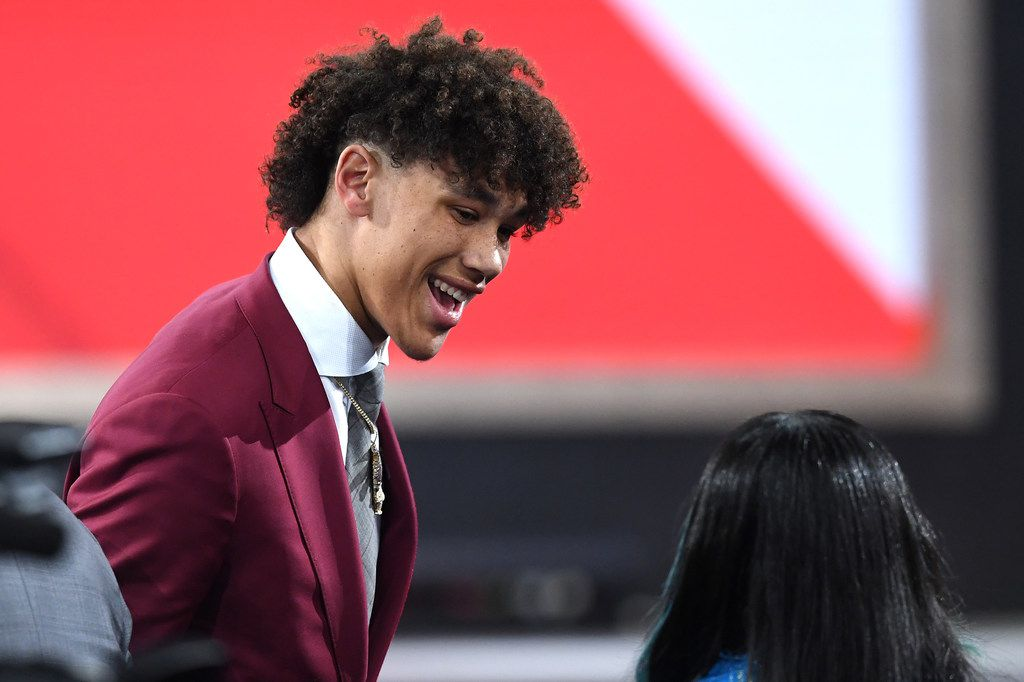 NEW YORK, NEW YORK - JUNE 20: Jaxson Hayes reacts after being drafted with the eighth overall pick by the Atlanta Hawks during the 2019 NBA Draft at the Barclays Center on June 20, 2019 in the Brooklyn borough of New York City. NOTE TO USER: User expressly acknowledges and agrees that, by downloading and or using this photograph, User is consenting to the terms and conditions of the Getty Images License Agreement. (Photo by Sarah Stier/Getty Images)