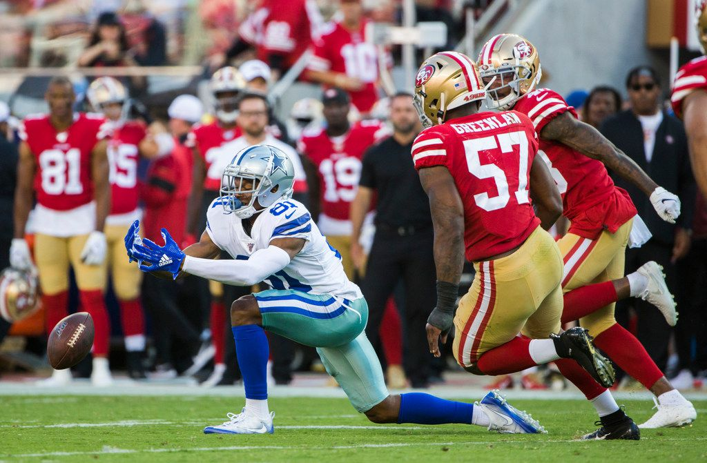 Dallas Cowboys wide receiver Jon'Vea Johnson (81) misses a pass during the second quarter of an NFL preseason game between the Dallas Cowboys and the San Francisco 49ers on Saturday, August 10, 2019 at Levi's Stadium in Santa Clara, California. (Ashley Landis/The Dallas Morning News)